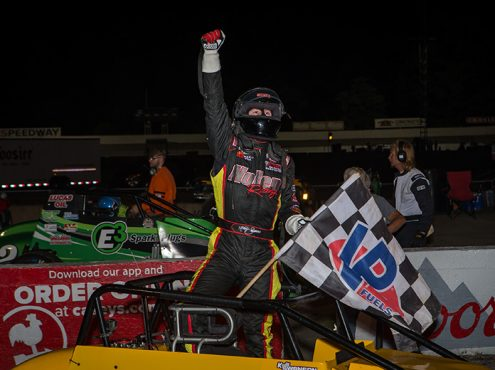 Kody Swanson celebrates his victory in Saturday's USAC Silver Crown Champ Car Series event at Salem Speedway. (Dallas Breeze Photo)