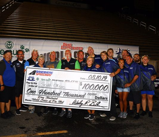 Scott Oksas earned a $100,000 payday during the World Series of Pro Mod on Saturday night. (Joe McHugh Photo)
