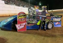 Ross White in victory lane Saturday at Volunteer Speedway. (Sarah Osborne Photo)