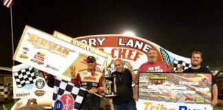Steve Surniak in victory lane at Harris Speedway.