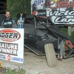 Thomas Meseraull in victory lane at Angell Park Speedway.
