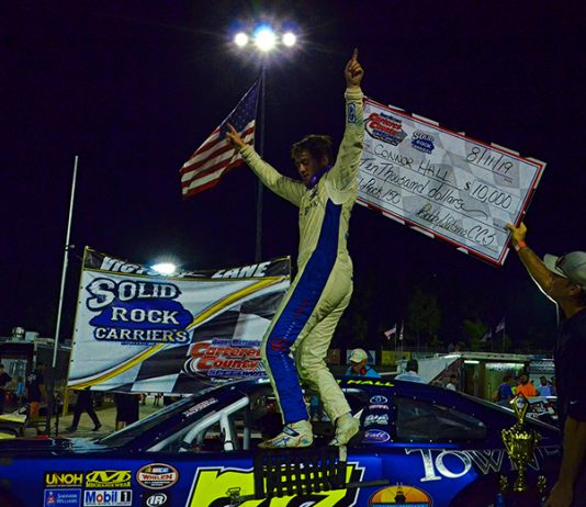 Connor Hall earned a $10,000 payday for winning the Solid Rock Carriers 150 Sunday at Carteret County Speedway. (Eric Creel Photo)