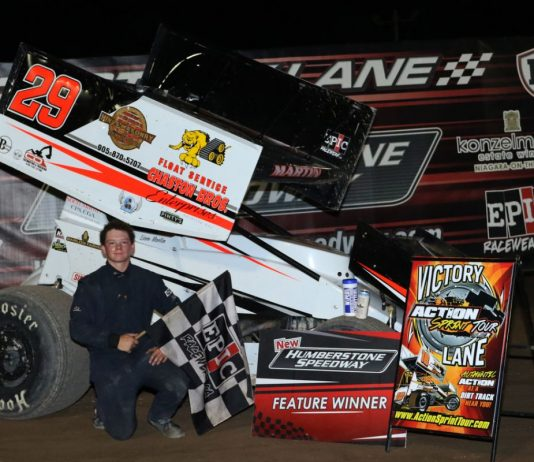 Liam Martin won Sunday's Action Sprint Tour race at New Humberstone Speedway. (Dale Calnan/Image Factor Media Photo)