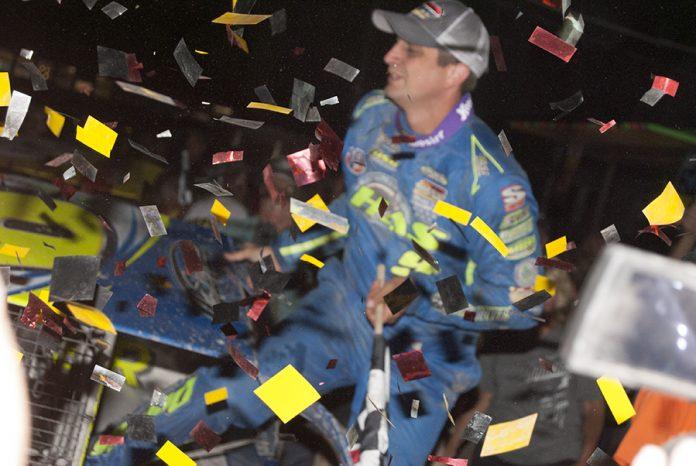 Matt Sheppard in victory lane at Orange County Fair Speedway. (DIRTcar photo)