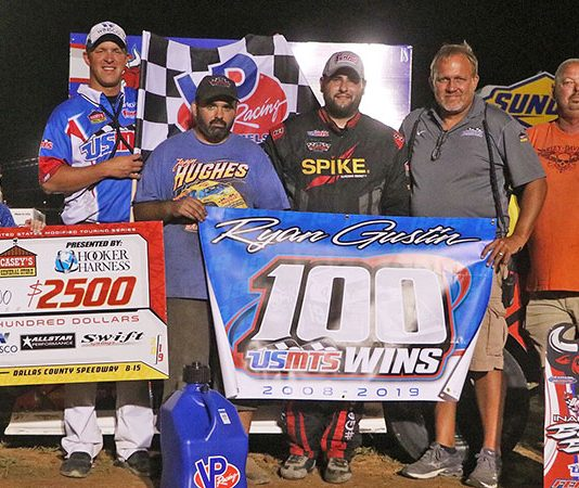 Ryan Gustin earned the 100th victory of his USMTS career on Thursday at Dallas County Speedway.