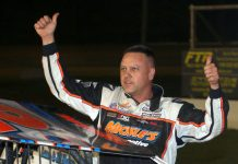 Ronnie Johnson celebrates his victory Friday at Albany-Saratoga Speedway. (Dave Dalesandro Photo)