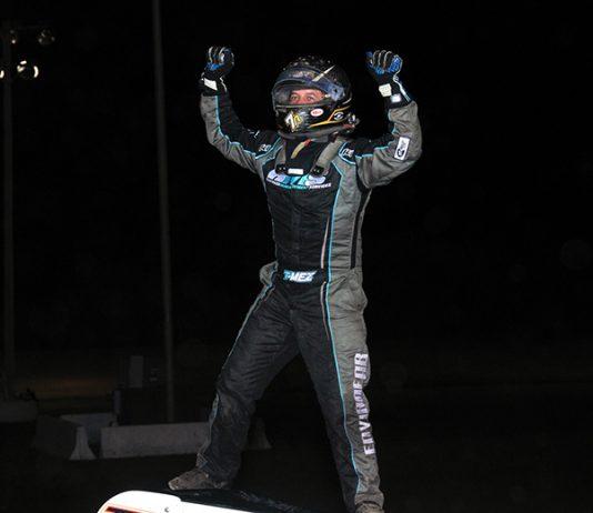 Thomas Meseraull celebrates in victory lane Friday at Gas City I-69 Speedway. (Randy Crist Photo)
