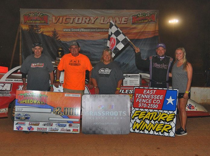 Jake Knowles poses in victory lane Friday after winning the Durrence Layne Chevrolet Dirt Late Model Series feature at Smoky Mountain Speedway. (Michael Moats Photo)