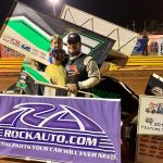 Justin Barger in victory lane Friday at Lavonia Speedway.