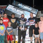 Kaley Gharst in victory lane Friday at Lee County Speedway.