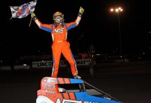 Tyler Courtney celebrates Friday at Lincoln Speedway. (Jim Denhamer Photo)