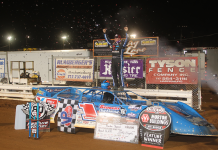 Brandon Sheppard in victory lane at Williams Grove Speedway. (Gary Shrey photo)
