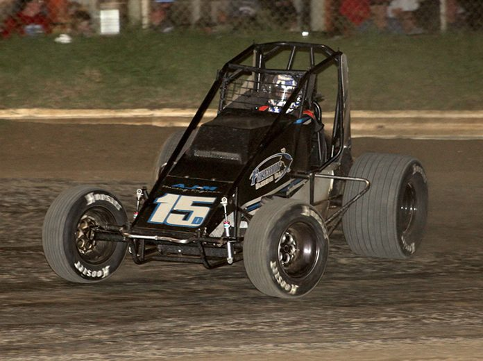 Andrew Deal led every lap of Friday's USAC Wingless Sprints Oklahoma feature at Creek County Speedway. (Richard Bales Photo)