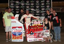 Jonathan Beason in victory lane Friday at Creek County Speedway. (Richard Bales Photo)