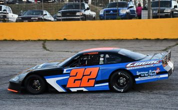 Brandon Lemke raced to a runner-up finish in late model stock car competition on Friday at South Carolina's Anderson Motor Speedway. (MPM Marketing)