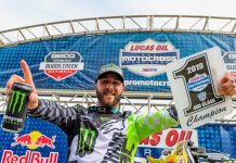 Eli Tomac clinched his third-straight Lucas Oil Pro Motocross 450 class title on Saturday. (Kawasaki Photo)
