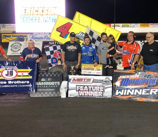 Lee Grosz in victory lane Saturday at the Jackson Motorplex.