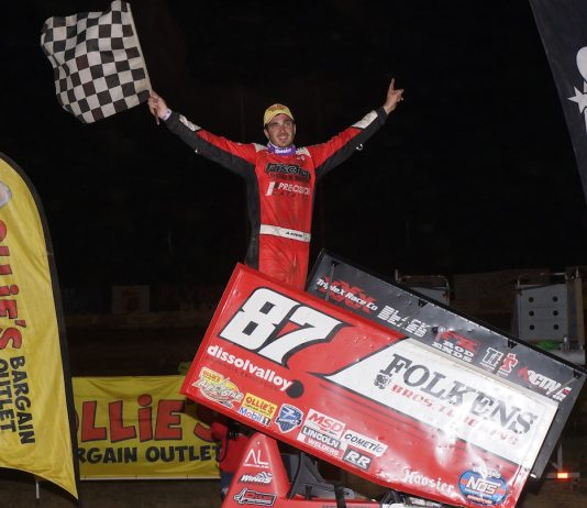 Aaron Reutzel in victory lane at Plymouth Speedway. (Gary Gasper photo)