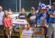 Rodney Sanders in victory lane Saturday at Salina Highbanks Speedway.