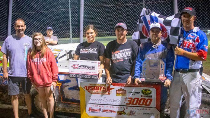 Rodney Sanders in victory lane Saturday at Salina Highbanks Speedway.