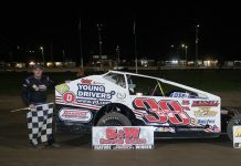 Ryan Susice in victory lane Saturday at Merrittville Speedway. (Nitroman Media Photo)