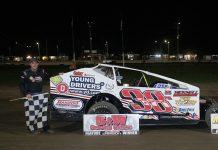 Ryan Susice in victory lane Saturday at Merrittville Speedway. (Nitroman Media Photo)