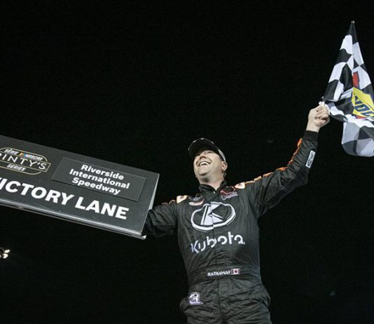 Jason Hathaway celebrates Saturday night at Riverside Int'l Speedway. (NASCAR Photo)