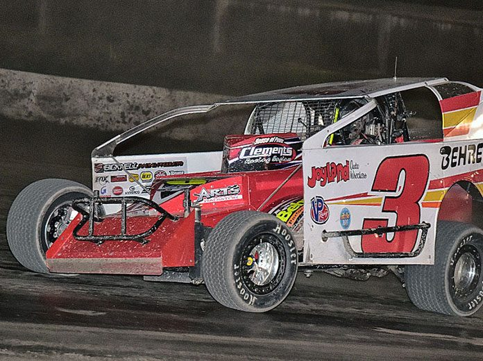 Mat Williamson earned $100,000 for winning Saturday's big-block modified race at Orange County Fair Speedway. (Harry Cella Photo)