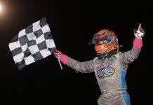 Zeb Wise celebrates after winning Sunday's midget feature at Jacksonville Speedway. (Brendon Bauman Photo)