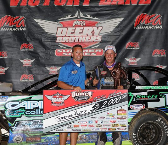 Jeremiah Hurst led every time around the track in winning the Deery Brothers Summer Series main event at Quincy Raceway Sunday night. The IMCA Late Model tour victory paid $2,000 and was Hurst's career fourth. (Photo courtesy of Quincy Raceway)