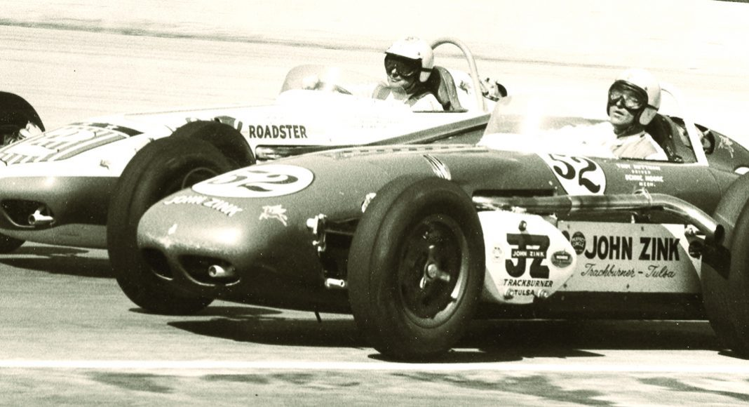 Troy Ruttman (52) and Rodger Ward at the Wisconsin State Fairgrounds in 1961