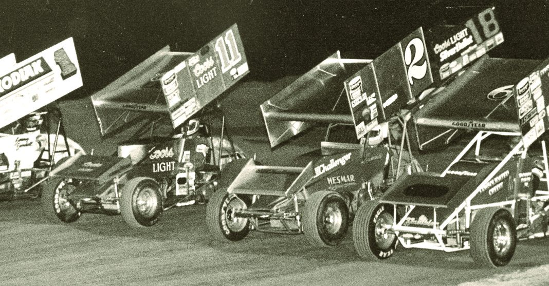 A four-wide World of Outlaws parade lap in 1987.