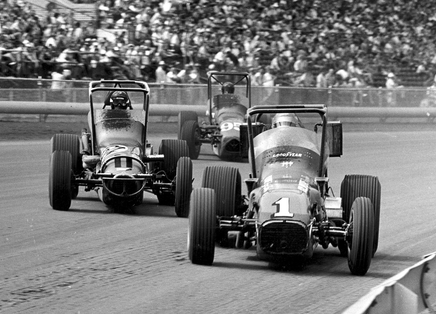 A.J. Foyt (1) shows the way during a championship car field at the DuQuoin (Ill.) State Fairgrounds in 1973.