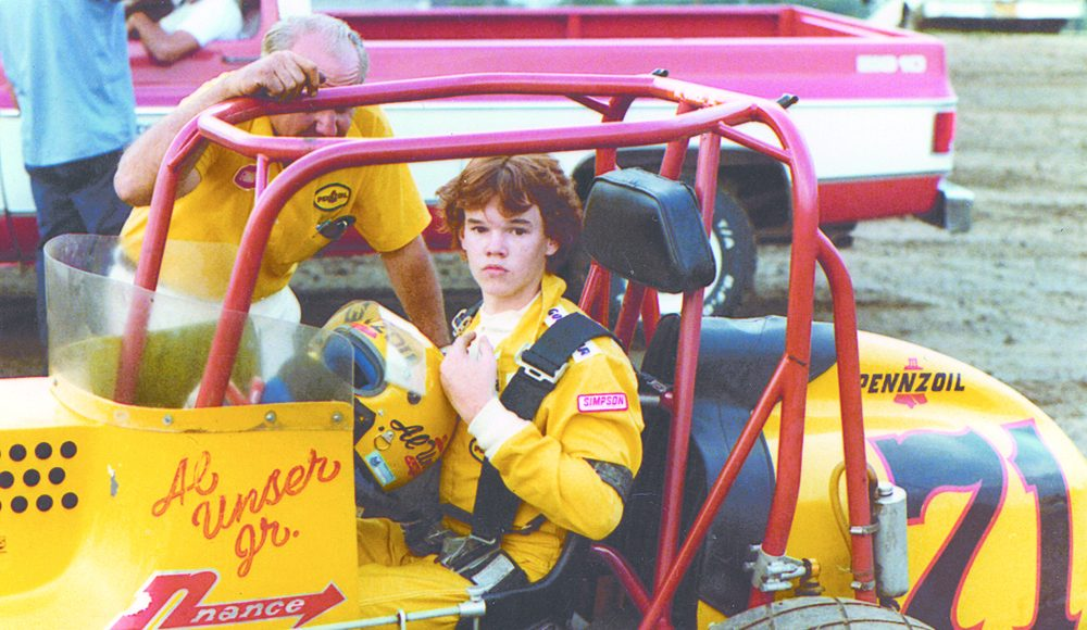 Al Unser Jr. in a sprint car during the late-1970s.