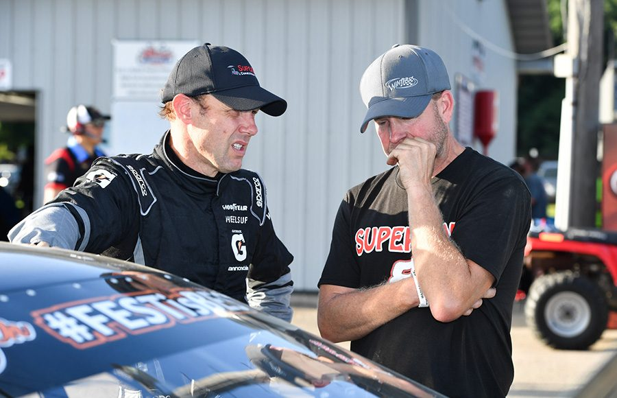 Matt Kenseth talking with crew chief Joe Wood after qualifying for the Howie Lettow Classic 100 at Madison Int'l Speedway. (Doug Hornickel Photo)