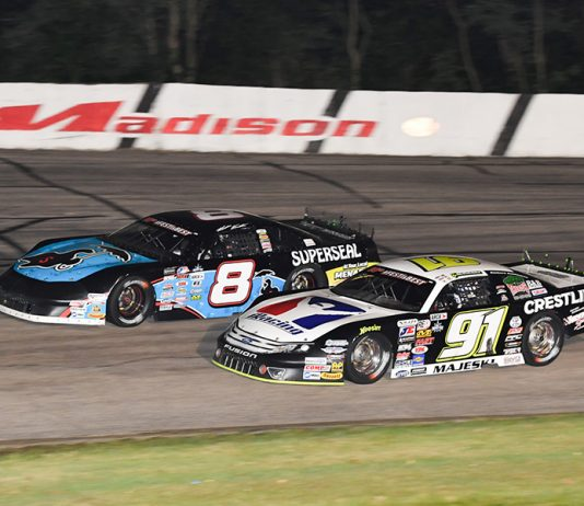 Ty Majeski (91) battles Matt Kenseth during Friday's ARCA Midwest Tour Howie Lettow Classic 100 Friday at Madison Int'l Speedway. (Doug Hornickel Photo)