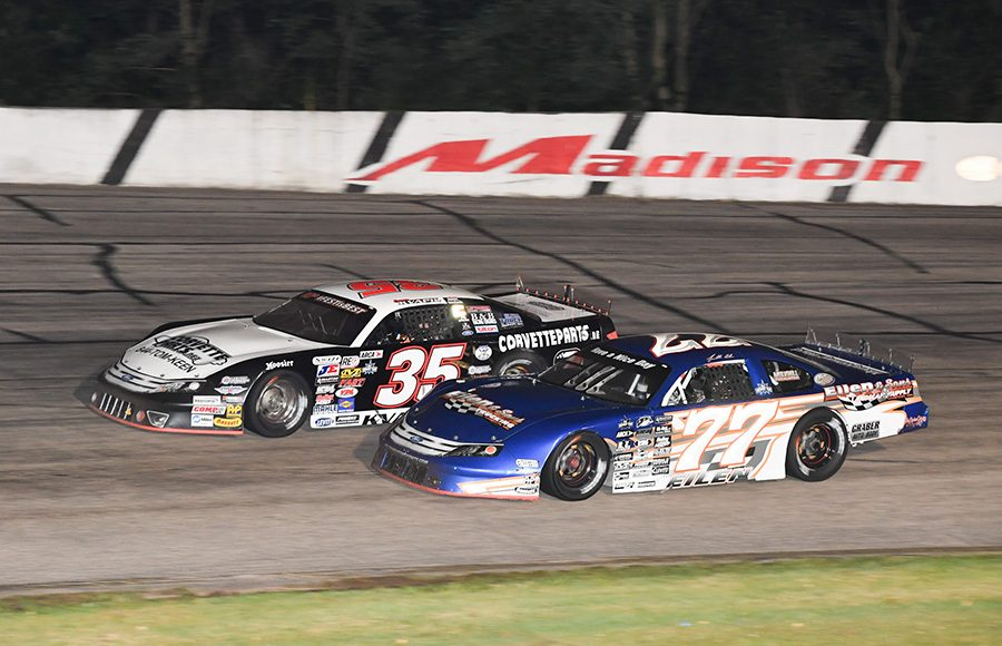 Jonathan Eilen (77) races under Carson Kvapil during Friday's ARCA Midwest Tour Howie Lettow Classic 100 Friday at Madison Int'l Speedway. (Doug Hornickel Photo)