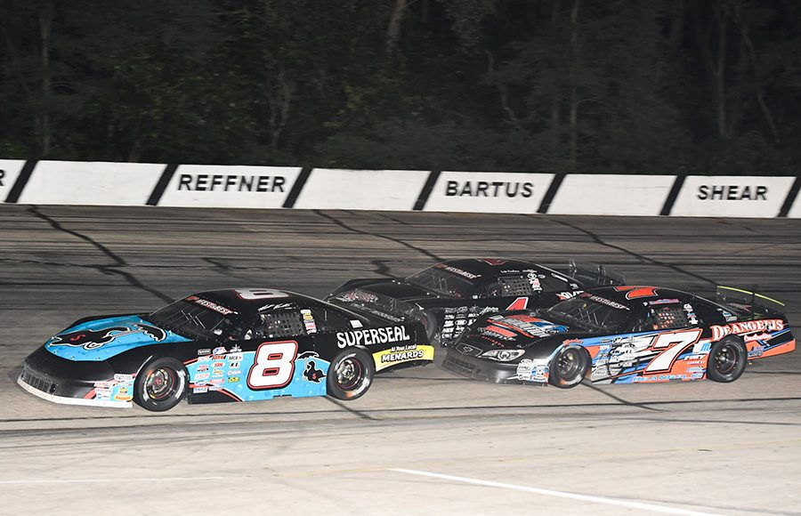 Matt Kenseth (8) races ahead of John DeAngelis Jr. (7) and Luke Fenhaus during Friday's ARCA Midwest Tour Howie Lettow Classic 100 Friday at Madison Int'l Speedway. (Doug Hornickel Photo)