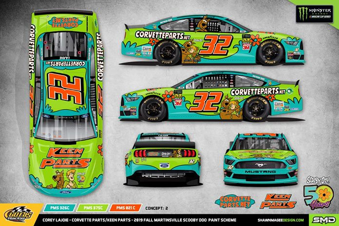 Corey LaJoie's Ford Mustang will turn into the Mystery Machine at Martinsville Speedway.