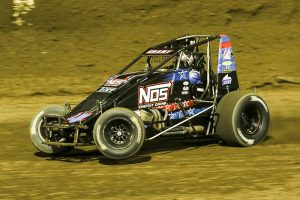 Justin Grant on his way to victory Wednesday at Kokomo Speedway. (Dick Ayers Photo)