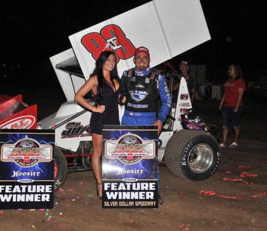 Tim Kaeding in victory lane at Silver Dollar Speedway. (M&M photo)
