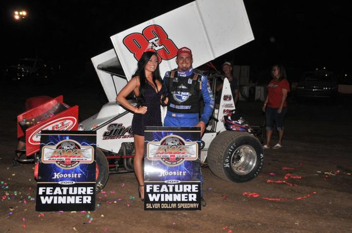 Tim Kaeding in victory lane at Silver Dollar Speedway. (M&M photo)