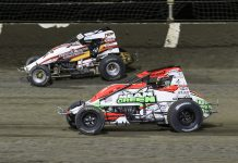 Thomas Meseraull (47) battles Brady Bacon at Kokomo Speedway. (Dick Ayers photo)