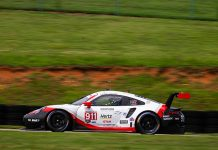 Patrick Pilet put Porsche on top of the practice charts Friday at Virginia Int'l Raceway. (Sarah Weeks Photo)