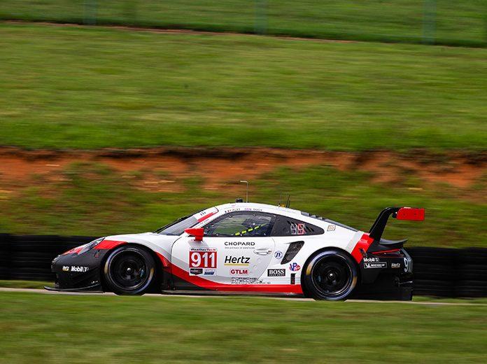 Patrick Pilet put Porsche on top of the practice charts Friday at Virginia Int'l Raceway. (Sarah Weeks Photo)