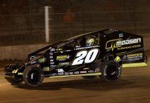 Brett Hearn on his way to victory on Friday night at Albany-Saratoga Speedway. (Dave Dalesandro Photo)