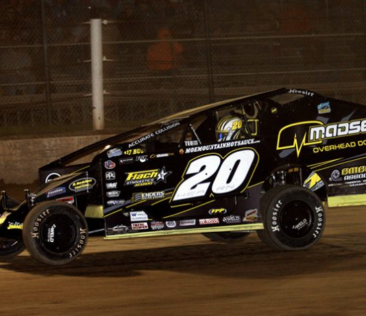 Brett Hearn on his way to victory on Friday night at Albany-Saratoga Speedway. (Dave Dalesandro Photo)