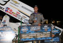 Carson Macedo in victory lane at Black Hills Speedway. (db3 imaging photo)