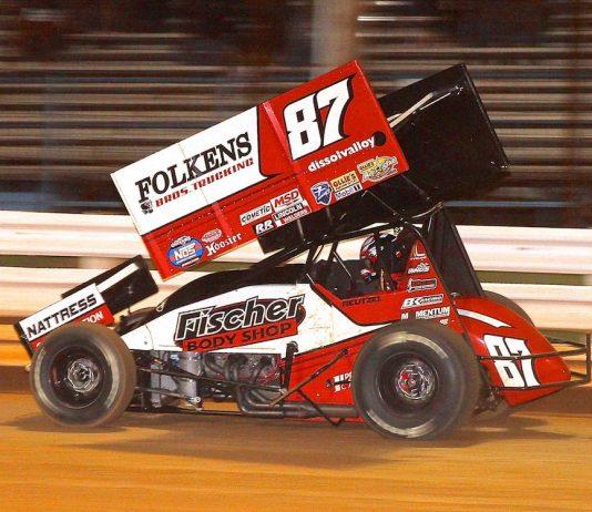 Aaron Reutzel, shown earlier this season, won Saturday's All Star sprint car feature at Atomic Speedway. (Dan Demarco photo)