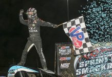 Logan Seavey celebrates his first USAC sprint car victory at Kokomo Speedway. (Dick Ayers photo)
